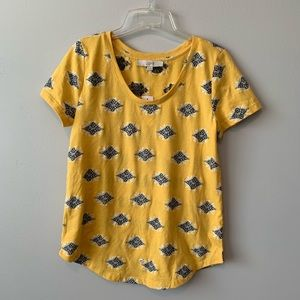 NWT LOFT Yellow Embroidered Tee